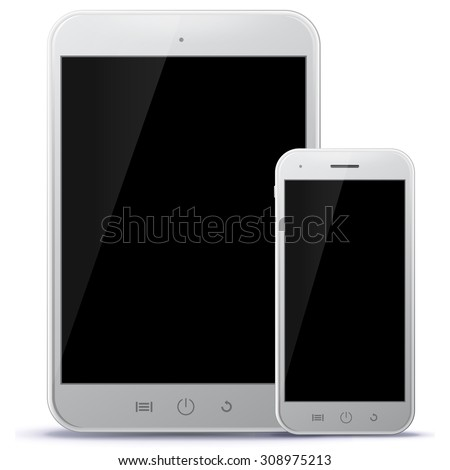 Tablet PC and Mobile Phone Vector Illustration