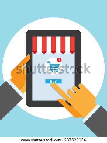 tablet pc buy button touch finger online store - stock vector