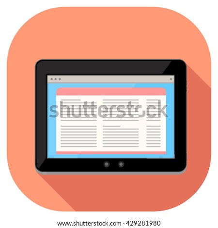 Tablet pc computer internet icon displaying generic page website. Vector illustration of a modern tablet. Tablet technology with news website information. - stock vector