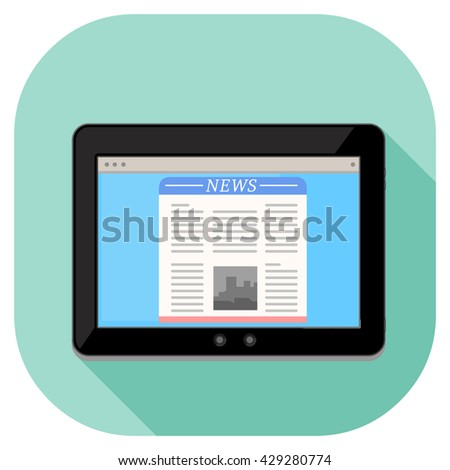 Tablet pc computer internet icon displaying news page website. Vector illustration of a modern tablet. Tablet technology with news website information.