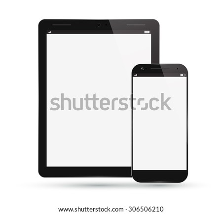 Tablet PC Computer with Smart Phone. Realistic Modern Mobile Pad. Digital Vector Design. Isolated on White Background. - stock vector