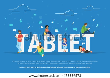 Tablet pc concept illustration of young people using pda for social networking and websites usage. Flat design of guys and young women standing near big letters tablet with social media symbols