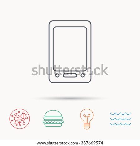 Tablet PC icon. Touchscreen pad sign. Global connect network, ocean wave and burger icons. Lightbulb lamp symbol. - stock vector