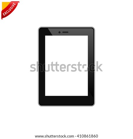 tablet pc icon, vector tablet computer, isolated blank tablet pc screen - stock vector