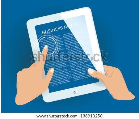 Tablet pc in hands with news page. Vector eps10 illustration. - stock vector