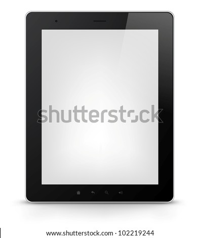 Tablet PC Isolated on White Background. Vector EPS 10. - stock vector