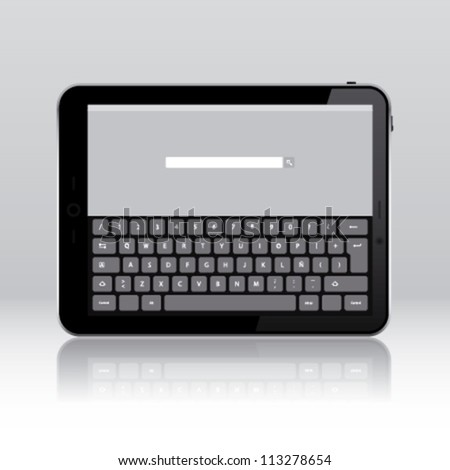 Tablet pc keyboard application - stock vector