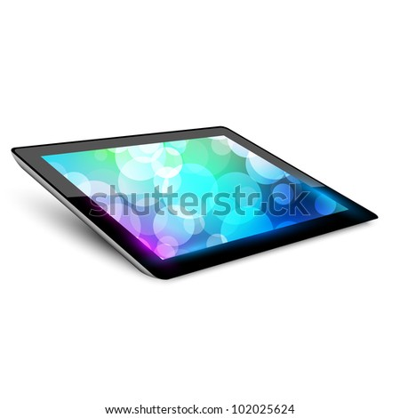 Tablet pc. Variant without hand.  White background. - stock vector