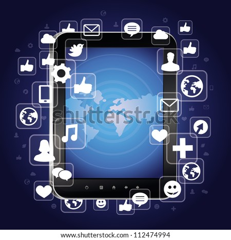 tablet pc with bright social media icons - vector illustration - stock vector