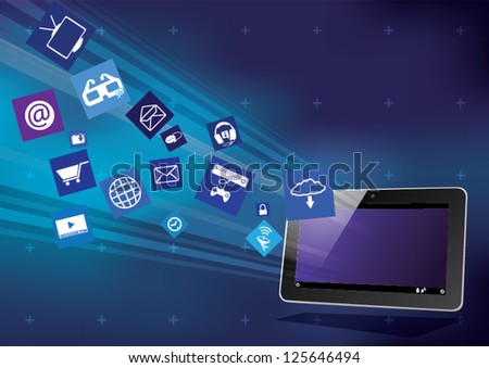 Tablet PC with cloud application icons - stock vector