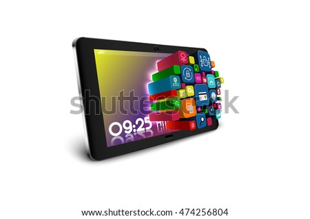Tablet PC with colorful application icons isolated on white background. vector illustration
