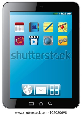 Tablet PC with icons - stock vector