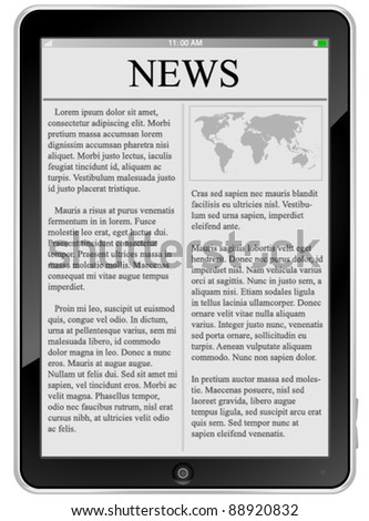 Tablet PC with news - stock vector