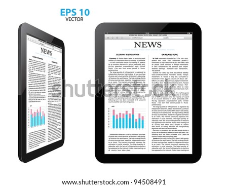 tablet pc with news.vector