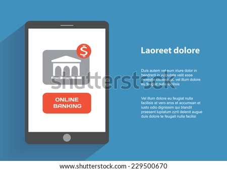 Tablet pc with online banking icon on the screen. Flat design concept. Eps 10 vector illustration - stock vector