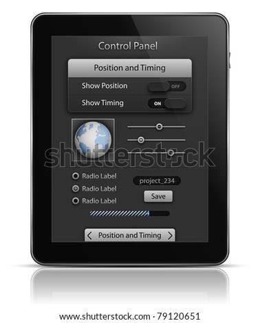 Tablet PC with UI elements. User interface template. EPS 10. Vector illustration - stock vector
