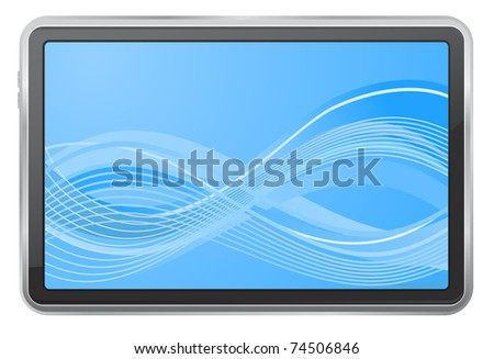 tablet pc with wave background screen - stock vector