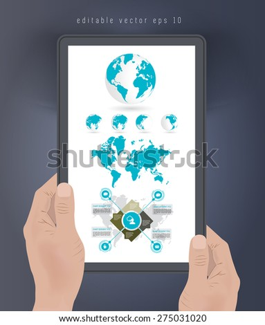Tablet presentation of infographic, vector