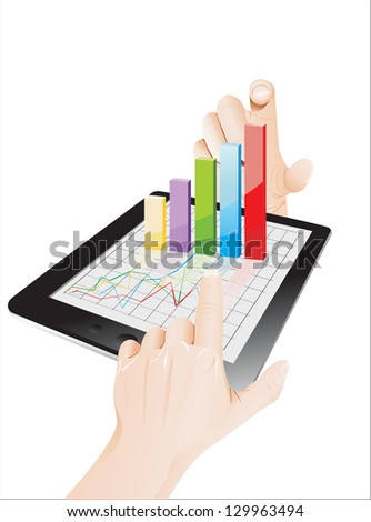 Tablet screen with 3D graph and a hands.