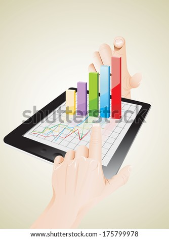 Tablet screen with 3D graph and a hands. - stock vector