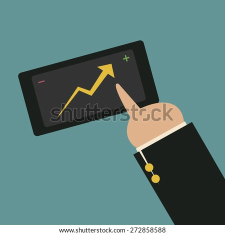 Tablet screen with growing graph and a hand. Vector. - stock vector
