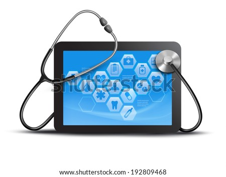 tablet screen with medical icons and stethoscope. Vector.  - stock vector