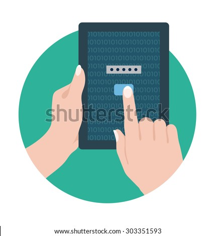 Tablet Security Vector Icon