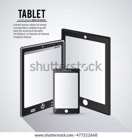 Tablet set black device display gadget technology tool icon. Isolated design. Vector illustration