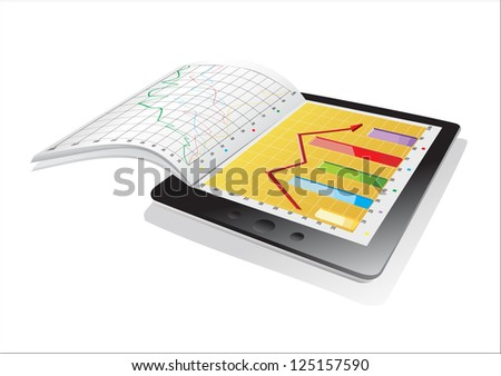 Tablet showing a spreadsheet and a paper with statistic charts - stock vector