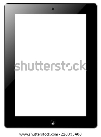 Tablet similar ipad with idea button, vector - stock vector