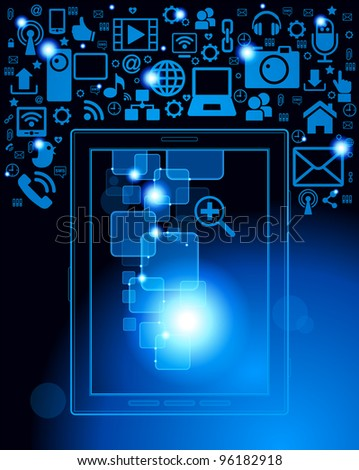 tablet; social media, communication in the global computer networks.File is saved in AI10 EPS version. This illustration contains a transparency - stock vector