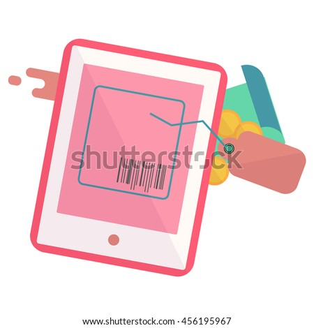 tablet with a tag and a piece of paper,Web analytics or promotion vector flat icons,element infographics,