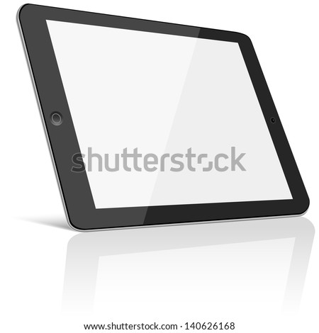 Tablet with Blank Screen - Black tablet with blank, shiny screen isolated on white background.  File is layered.  Eps10 file with transparency. - stock vector