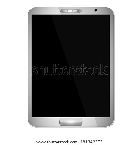 Tablet with Blank Screen - tablet with blank, shiny screen isolated on white background.