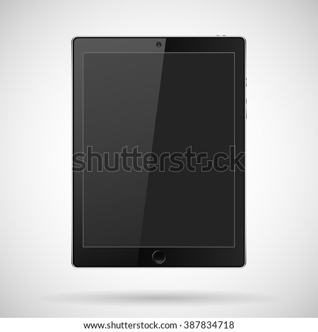 tablet with buttons, a camera on a gray background and shadow.Tablet Vector.