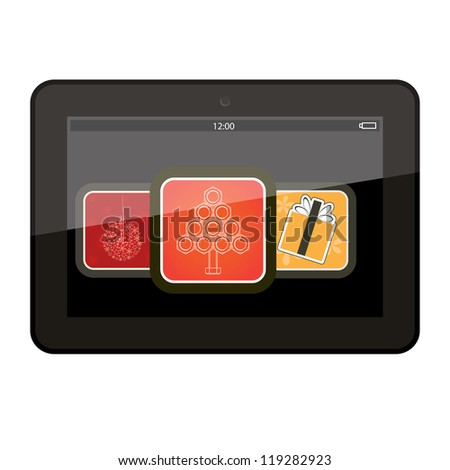 Tablet with Christmas app icons, vector