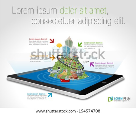 Tablet with colorful cartoon city with roads, building, cars, airplane, ship. - stock vector