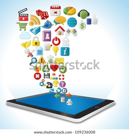 Tablet with Internet and Website icons Set - stock vector