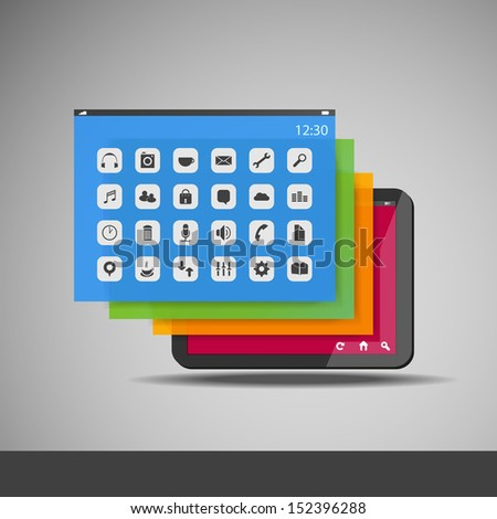 Tablet with Layers and Icons | Business Vector Illustration - stock vector