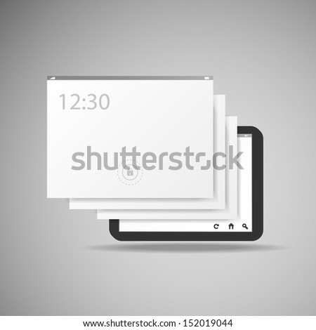 Tablet With Layers | Business Vector Illustration - stock vector