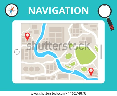 Tablet with map navigation. Finding the way concept in flat design. Vector illustration.