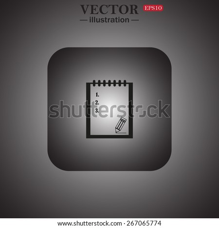 tablet with paper, web icon. vector design