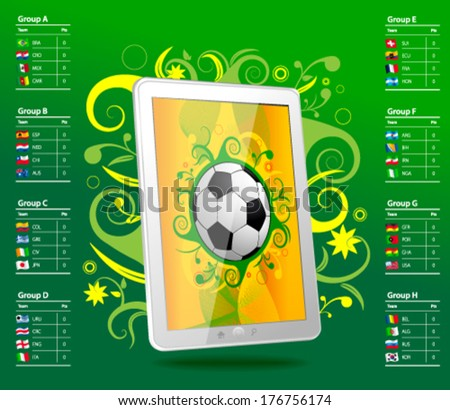 Tablet with soccer ball, brazil, table  - stock vector