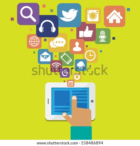 Tablet with social media icons.Illustration EPS10 - stock vector
