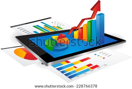 Tablet with statistics chart - stock vector