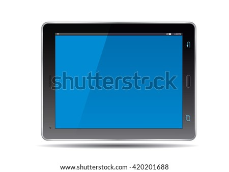 Tablets and blue screen. Vector Illustration.