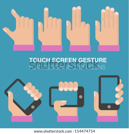 Tablets and gadgets with touch-screen display held in hand. Touch sgreen gestures icon set. - stock vector