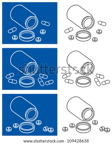 Tablets and pills vector icons - stock vector