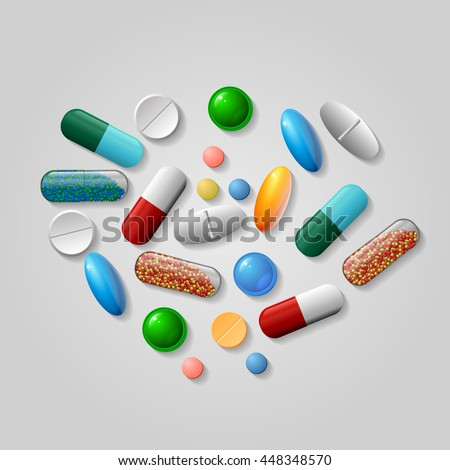 Tablets and pills vector set isolated on blue background.