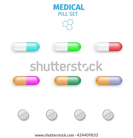 Tablets and pills vector set isolated vector illustration.